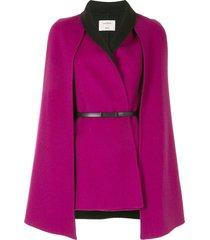 onefifteen belted wool-blend cape - pink