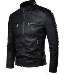 chaqueta hombre cuero pu cremallera tipo motociclista 903 negro
