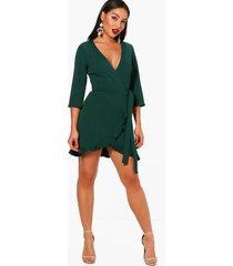 formele wikkel skater jurk met franjes, evergreen