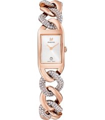 swarovski women's cocktail rose gold-tone pvd stainless steel chain bracelet watch 24.5mm