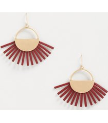 maurices womens burgundy faux leather fan drop earrings red