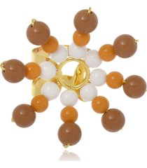 anel le diamond flor de resinas multicolorido bege