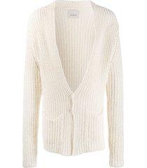 laneus open knit mid-length cardigan - neutrals