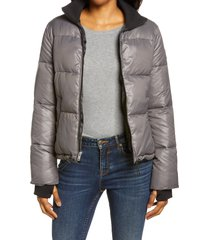 women's ugg izzie water repellent puffer jacket, size small - grey