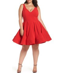 plus size women's mac duggal fit & flare party dress, size 18w - red