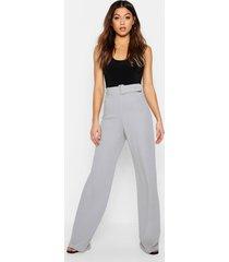 broek met hoge taille en ceintuur, grey