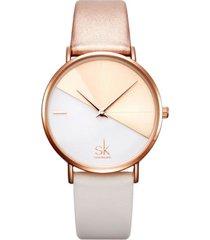 reloj mujer lujo dial acero inoxidable shengke 0095 beige