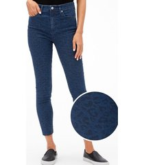 jeans legging tiro alto animal print azul gap