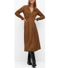 mango women's decorative pleat dress