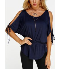 navy lace-up design cold shoulder drawstring waist summer top