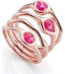 rose gold siren cluster cocktail ring pink quartz
