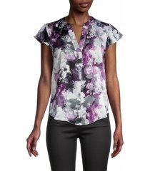 calvin klein women's floral-print cap sleeves blouse - dark purple multi - size s