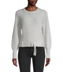emma belted linen & cashmere sweater