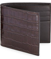 collection croc-embossed leather bifold wallet