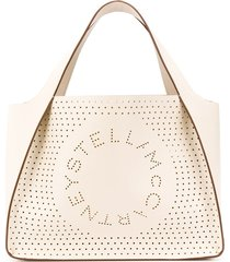 stella mccartney large decorative perforations tote - white