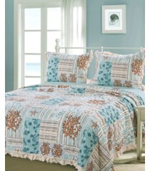 greenland home fashions key west quilt set, 3-piece king bedding