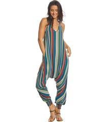 buddha pants women's stripes harem jumpsuit - green xx-small cotton