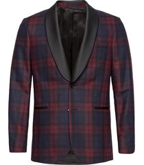 d2. slim check tuxedo jacket smoking rood gant