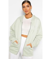 basic oversized zip through hoodie, light khaki