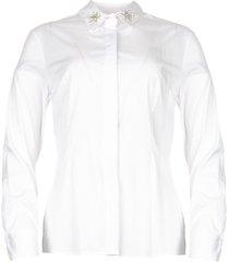 blouse met kraagversiering rowema  wit
