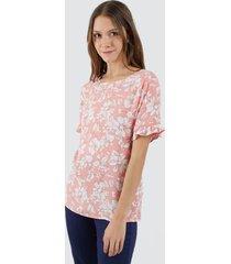 blusa manga corta flores color naranja, talla 12