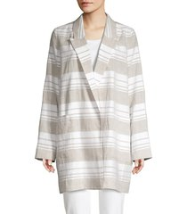 lafayette 148 new york women's malika striped linen-blend jacket - white beige - size l