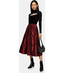 burgundy taffeta tiered midi skirt - burgundy
