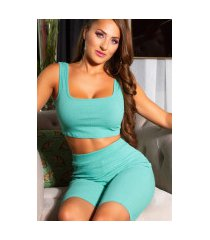 trendy 2 piece-set crop top + biker shorts groen