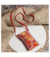 embroidered eyeglasses bag, 'embellished beauty in chili' (peru)