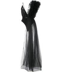 alchemy asymmetric ruffle-detail bodysuit - black