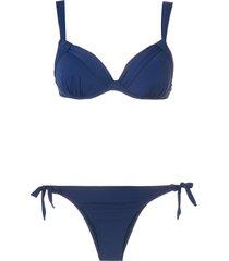 amir slama ruched detail bikini set - blue