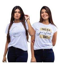 kit 2 t-shirts estampadas camiseta feminina branco