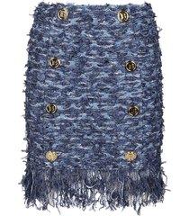 balmain denim viscose-cotton blend skirt