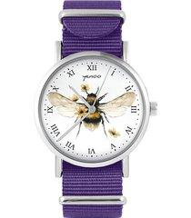 zegarek - bee natural - fioletowy, nylonowy