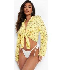 broderie bloemen strand blouse, yellow