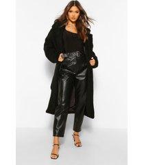 faux teddy fur jas met ceintuur, black