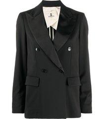 barena satin lapel blazer - black