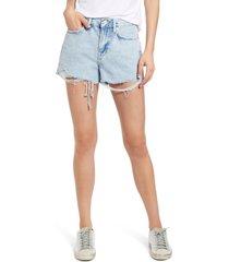 frame le brigette high waist raw edge denim shorts, size 28 in whisper destruct at nordstrom
