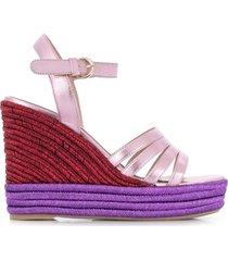 paul warmer open toe braided wedge espadrilles - pink