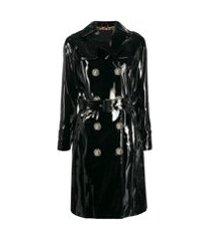 philipp plein trench coat com abotoamento duplo - preto