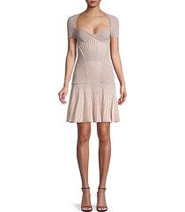 metallic striped drop-waist flare dress
