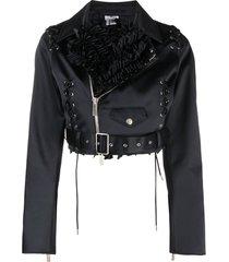comme des garçons noir kei ninomiya ruffled cropped biker jacket -