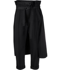 y-3 belted overlay-skirt trousers - black