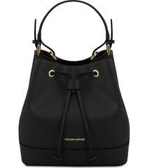 tuscany leather tl141436 minerva - borsa secchiello da donna in pelle saffiano nero