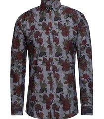 aop chambray shirt l/s skjorta casual svart lindbergh