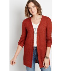 maurices womens solid lace up back open front cardigan red