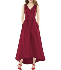 women's alfred sung high/low sateen twill gown, size 10 - red
