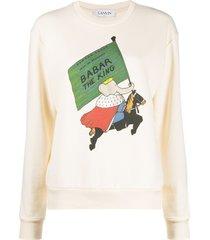 lanvin barbar print sweatshirt - neutrals