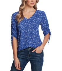 cece floral-print ruched-sleeve top