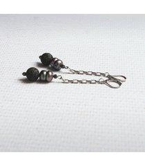 długie kolczyki - perły & lawa